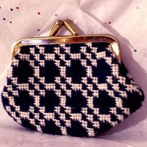 Vintage Navy Blue and White Coin Purse
